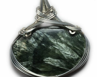 Genuine Seraphinite Stone Crystal Pendant - Necklace 93 ct with 925 Sterling Silver with Black Leather Necklace, Exact Gem in Pics 17 ZB