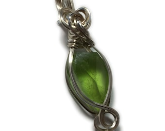Green Peridot PENDANT Sterling Silver w/ necklace Wire Wrapped 2215S5-1