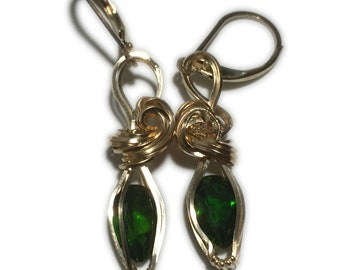 Chrome DIOPSIDE Emerald Green Crystal Earrings 14k Gold Filled Leverback 129g3-3