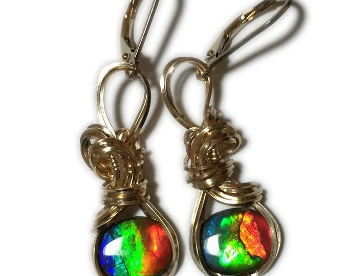 AMMOLITE Earrings, Triplet, Crystal Top -14k Gold Filled, Earrings, Wire Jewelry, 1018g8-02