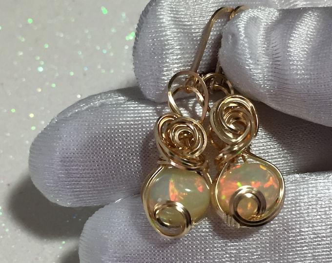 Opal, ETHIOPIAN OPAL Earrings, Bright, AAA, 14k Yellow gold Filled, pink, green, Opal Earrings, Jewelry, Wire wrapped, 810G7