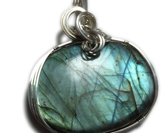 Labradorite Jewelry Pendant Sterling Silver - Blue  Green  w/ Black Leather Necklace Elegant Gift Box Wire Wrapped Rocks2Ring 3948S2-0