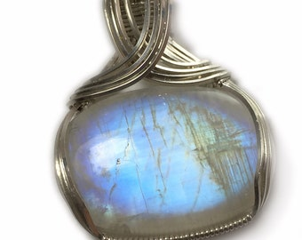 Blue Rainbow Moonstone Pendant Sterling Silver, Elegant Gift Box, Wire Wrapped Jewelry by Rocks2Rings 3S2