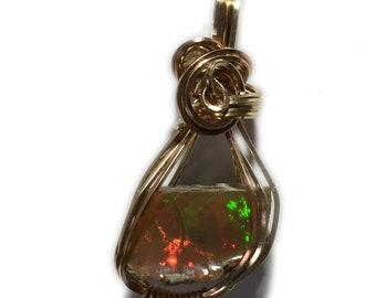 Opal Pendant, Ethiopian, 14k Gold - Filled, Ethiopian Pendant, Wire Wrapped Jewelry, Necklace, Very Rare Reds 1611G1-19