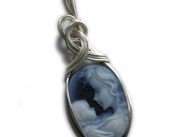 Cameo PENDANT, Mother and Baby, Sterling Silver with Black Leather Necklace, Wire Wrapped Jewelry by Rocks2Rings 1825s3-6 Z
