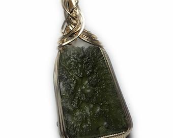Moldavite Pendant Genuine Crystal Necklace  - Gold Czech Republic Warm Moldavite Tektite Healing Stones Jewelry  Leather Necklace 42g5-2 ZP
