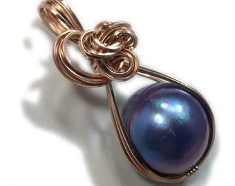 MABE PEARL PENDANT Blue Black 14k Rose Gold Fill w/ Necklace Wrapped Jewelry 18R1-2