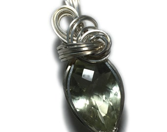 AMETHYST Pendant Sterling Silver Green with Black Leather Necklace Wire Wrapped Jewelry by Rocks2Rings 221S2-5