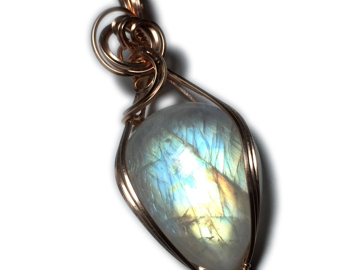 Rainbow Moonstone Pendant Rose Gold - Filled Jewelry with Black Leather Necklace Rocks2Rings Wire Wrapped 2822R3-7