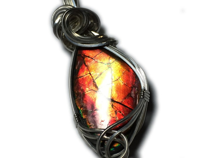 AMMOLITE PENDANT Red Green Ammonite Silver Argentium with Black Leather Necklace Wire Wrapped Jewelry by Rocks2Rings 1617s2-02