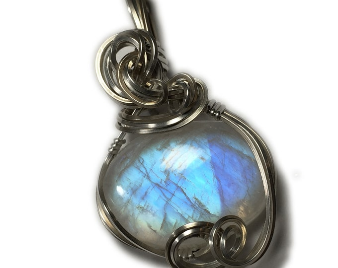 Rainbow Moonstone Pendant Sterling Silver with Black Leather Necklace Wire Wrapped Jewelry by Rocks2Rings 2517S2-5