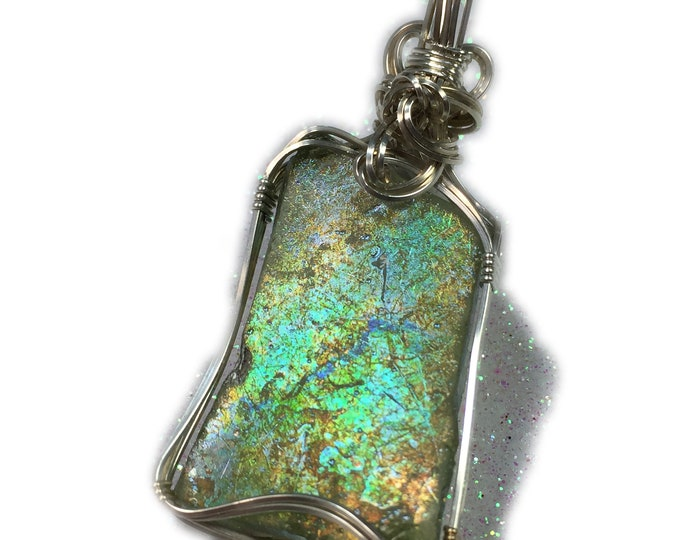 Ancient ROMAN GLASS Pendant, Sterling Silver, Pendant, with Black Leather Necklace, Wire Wrapped, Jewelry, 3625S79