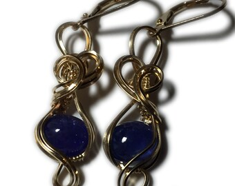 Tanzanite Earrings 14K Gold Fill - leverback Wire Wrapped Jewelry 97g3-8
