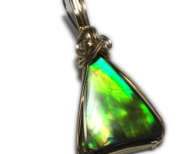 AMMOLITE PENDANT 14k Gold Filled - Green with Black Leather Necklace Rocks2Rings Wire Wrapped Jewelry  2921g2-03