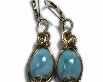 Larimar Earrings, 14K Gold FIlled Boho Gift Larimar Jewelry Dominican Republic Cruise Ship Jewelry,  Caribbean Blue Larimar Healing Crystal