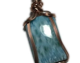 LARIMAR, LARIMAR PENDANT, Sky Blue, Rose Gold Filled, 45CT Larimar Pendant, necklace, Wire Wrapped, Jewelry, 3018R25