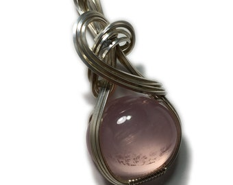 Rose Quartz Pendant Sterling - Silver w/ necklace 23CT Wrapped Jewelry 2115S2-3