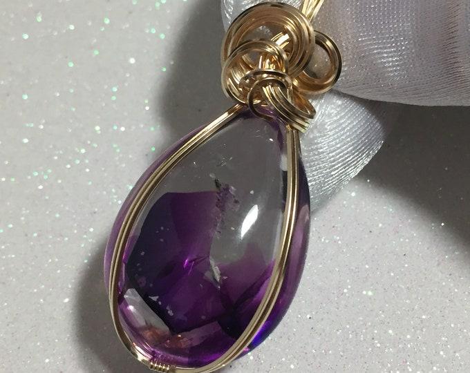 Quartz, Purple Phantom Quartz Pendant, Quartz Pendant, 14k Gold Fill, Pendant, w/ necklace, wire wrapped, Jewelry, QP3-6