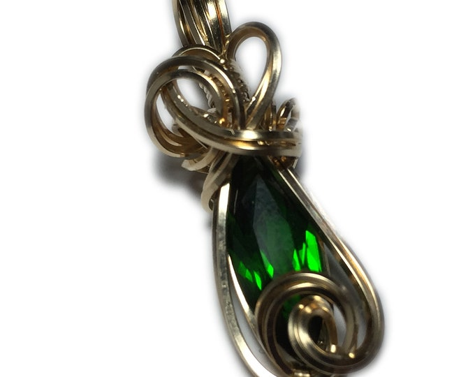 2 Ct Chrome DIOPSIDE Pendant Emerald Green 14k Gold Filled With Black Leather Necklace Wire wrapped jewelry Rocks2Rings 186g7-7