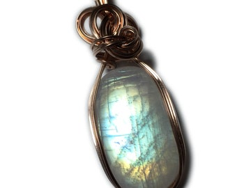 Rainbow Moonstone Pendant Rose Gold - Filled 41 ct Jewelry with Black Leather Necklace Rocks2Rings Wire Wrapped 3120R2-2