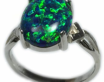 Black Opal Ring 925 Sterling - Silver Setting Lab Created 12 x 10 mm Jewelry  Ring Size 5 ,6 7, or 8, Elegant Gift Box S8