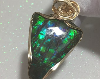 Ammolite, AMMOLITE PENDANT, Blue, Green, - 14k Gold Fill, Pendant, necklace, wire wrapped, Jewelry, 4031G5-0