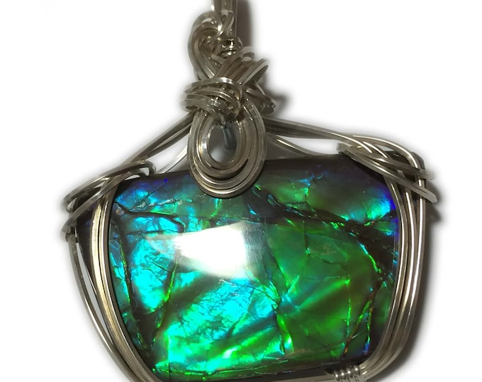 Ammolite, AMMOLITE PENDANT, Blue, Green, - 14k Gold Fill, Pendant, necklace, wire wrapped, Jewelry, 3924g5-13