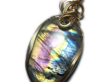 Labradorite Pendant Pink Blue Flashes - 14k Gold Filled with Black Leather Necklace  Wire Wrapped Jewelry by Rocks2Rings     88ct   3143g2-2