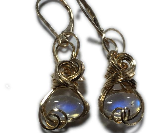 Moonstone Earrings 14K Gold Filled - Rainbow for Women or Men Jewelry, Elegant Gift Box, Exact Gems in Picture, Rocks2Rings 1210G4-8