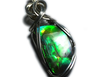 Ammolite Pendant Sterling Silver Jewelry - for Women, Black Leather Necklace Upgraded Elegant Gift Box Exact Gem in Picture  29S2-5