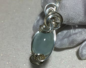 Aquamarine Pendant Blue Green Sterling Silver Wrapped Jewelry  w/necklace 1612s5