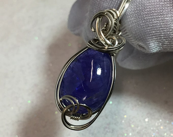 Tanzanite Pendant, Blue, Violet, 14K, Solid, White Gold, w/, Necklace, Jewelry, Tanzanite, 14K Gold, Wire, Wrapped, 1812W1-34