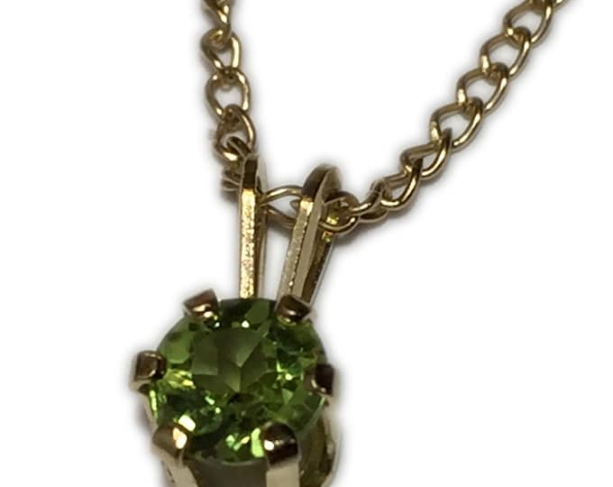 "Peridot Pendant Apple Green  with 18"" Yellow Gold Filled Chain Minimalistic"