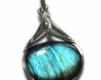 Labradorite Necklace  Pendant Silver - Jewelry,  Elegant Gift Box, Rocks2Rings Wire Wrapped Jewelry S10