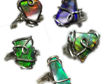 Ammolite Ring Solitaire 925 Sterling Silver, Choose 1 of 5 Genuine Ammolite Jewelry, Ring Size 6, 7, 7.5, or 8, Elegant Gift Box SRA Z