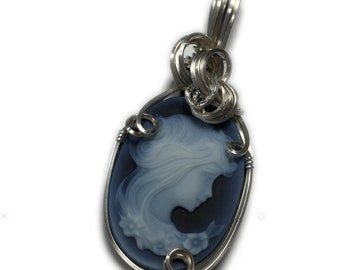 Cameo PENDANT, Young Lady - Sterling Silver, with Black Leather Necklace Wire Wrapped Jewelry by Rcoks2Rings 2518s3-6