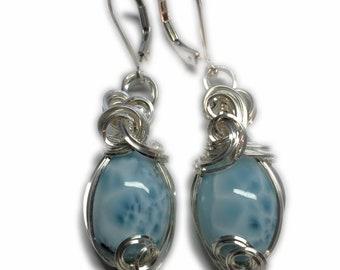 Larimar Earrings 925 Sterling Silver Boho Gift Larimar Jewelry Dominican Republic Cruise Ship Jewelry Caribbean Blue Larimar Healing Crystal