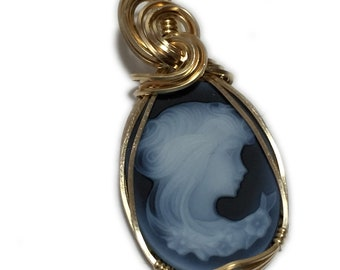 Cameo Pendant Victorian Young Lady - 14k Gold Filled, Carved Agate with Leather Necklace, Elegant Gift Box, Jewelry 2518G3-6 Z