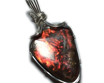 AMMOLITE PENDANT Red Oragne Ammonite Silver Argentium with Black Leather Necklace Wire Wrapped Jewelry by Rocks2Rings 3323s2-03