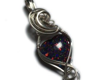 Rocks2Rings Black Opal Jewelry Silver - Pendant for Women, Black Leather Necklace, Exact Stone in Picture, Elegant Gift Box, Wire Wrap S25