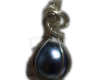 MABE PEARL PENDANT Blue Black Sterling Silver Arg. Wire Wrapped Jewelry BBMPS1-2