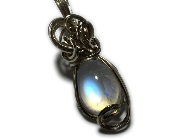Moonstone, Rainbow Moonstone Pendant 14k Solid White Gold necklace Jewelry 912W329
