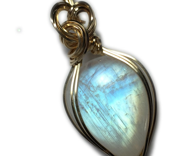 Rainbow Moonstone Pendant 14k Gold Filled with Black Leather Necklace Wire Wrapped Jewelry 34 Ct by Rocks2Rings 2922g2-5