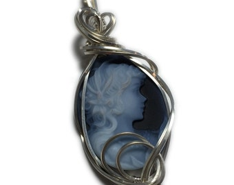 Princess Cameo Pendant Sterling Silver - Vintage look, Authentic German Carved Agate with Black Leather Necklace Rocks2Rings Jewelry Lady