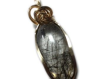 Black Quartz Pendant Rutilated, 14k Gold Filled with Black Leather Necklace Wire Wrapped Jewelry by Rocks2Rings 3620g2-3