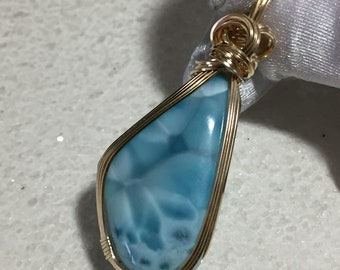 LARIMAR, LARIMAR PENDANT, Sky Blue White, 14k Gold Filled, Pendant, necklace, Wire Wrapped, Jewelry, 4124G2-6