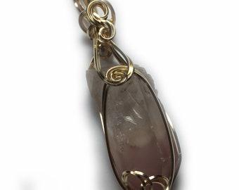 Lithium Quartz Crystal Necklace Pendant - LARGE CRYSTAL 14K Gold Filled Pink Reiki Jewelry, Leather Necklace, Elegant Gift Box  50g2-5 ZP