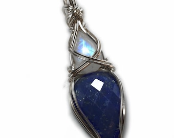 Lapis Lazuli and Moonstone Sterling Silver Rainbow Blue Pendant Necklace Confidence love and Wellness Vibrations Jewelry LMS1