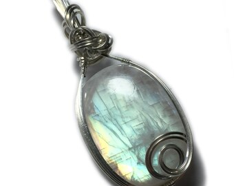 Rainbow Moonstone Pendant Sterling Silver with Black Leather Necklace Wire Wrapped Jewelry by Rocks2Rings 3628S6-0