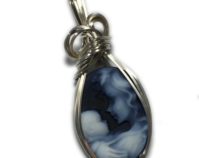 Cameo PENDANT, Mother and Baby, Sterling Silver with Black Leather Necklace, Wire Wrapped Jewelry by Rocks2Rings 1825s3-6